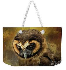 Brown Wood Owl Weekender Tote Bag