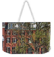 Weekender Tote Bag featuring the photograph Brownstone Panoramic - Beacon Street Boston by Joann Vitali