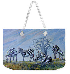 Weekender Tote Bag featuring the painting Browsing Zebras by Anthony Mwangi