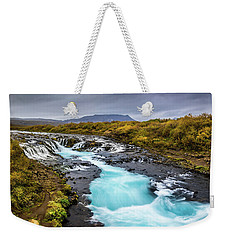 Weekender Tote Bag featuring the photograph Bruarfoss In The Gloom by Rikk Flohr