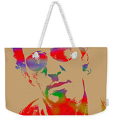 Bruce Springsteen Watercolor Portrait On Worn Distressed Canvas Weekender Tote Bag by Design Turnpike