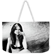 Brunette In Lingerie Black And White Weekender Tote Bag