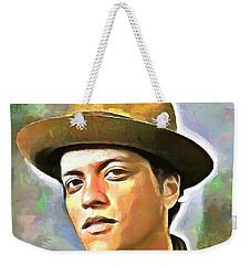 Bruno Mars Weekender Tote Bag by Wayne Pascall
