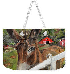 Weekender Tote Bag featuring the painting Bubba - Steals The Show -donkey by Jan Dappen