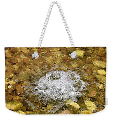 Weekender Tote Bag featuring the photograph Bubbling Water In Rock Fountain by James Fannin