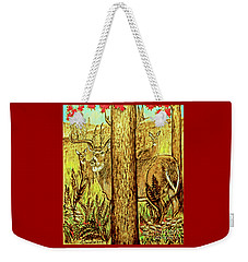 Buck And Deer  Weekender Tote Bag by Patricia L Davidson