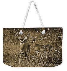 Buck And Doe In Sepia Weekender Tote Bag