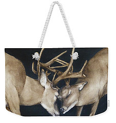 Weekender Tote Bag featuring the painting Buck Deers Antlers Shuffle by Kelly Mills