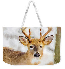 Weekender Tote Bag featuring the painting Buck Profile by Steven Santamour