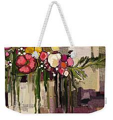 Weekender Tote Bag featuring the painting Bucket Of Flowers by Carrie Joy Byrnes