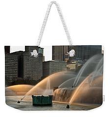 Buckingham Fountain Sidelight  Weekender Tote Bag by Steve Gadomski