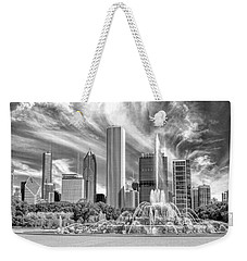 Buckingham Fountain Skyscrapers Black And White Weekender Tote Bag by Christopher Arndt