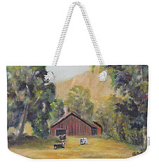 Weekender Tote Bag featuring the painting Bucks County Pa Barn by Katalin Luczay