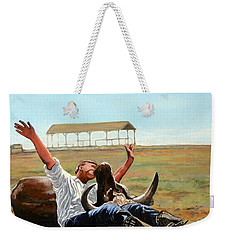Weekender Tote Bag featuring the painting Bucky Gets The Bull by Tom Roderick