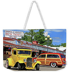 Weekender Tote Bag featuring the photograph Bud Tent Hot Rods by Christopher McKenzie