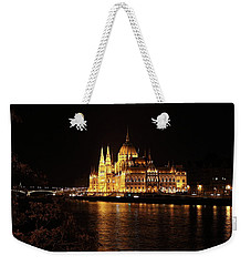 Weekender Tote Bag featuring the digital art Budapest - Parliament by Pat Speirs
