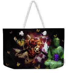 Weekender Tote Bag featuring the photograph Buddha And Butterflies by John Stuart Webbstock
