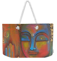 Weekender Tote Bag featuring the painting Buddha Blessings by Prerna Poojara