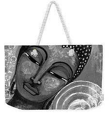 Weekender Tote Bag featuring the mixed media Buddha In Grey Tones by Prerna Poojara