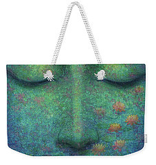 Weekender Tote Bag featuring the painting Buddha Smile by Sue Halstenberg