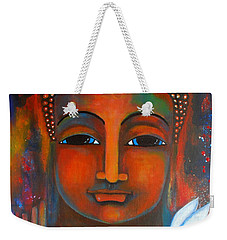Buddha With A White Lotus In Earthy Tones Weekender Tote Bag