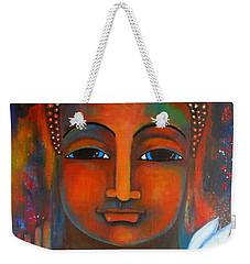 Buddha With A White Lotus In Earthy Tones Weekender Tote Bag by Prerna Poojara