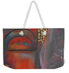Weekender Tote Bag featuring the painting Buddha With Floating Lotuses by Prerna Poojara