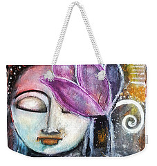 Weekender Tote Bag featuring the mixed media Buddha With Torn Edge Paper Look by Prerna Poojara