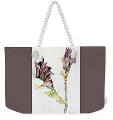 Budding Irises Weekender Tote Bag by Mindy Newman