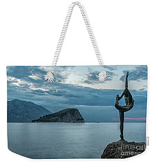 Budva Little Gymnast Statue At Sunrise Weekender Tote Bag