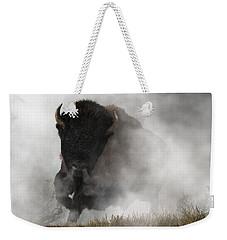 Buffalo Emerging From The Fog Weekender Tote Bag by Daniel Eskridge