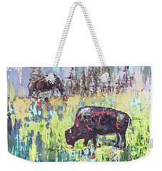 Buffalo Grazing Weekender Tote Bag by Cheryl McClure