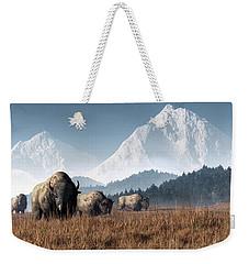 Buffalo Grazing Weekender Tote Bag by Daniel Eskridge