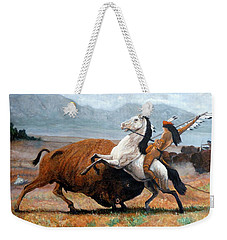 Weekender Tote Bag featuring the painting Buffalo Hunt by Tom Roderick