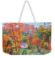 Weekender Tote Bag featuring the painting Buffalo Mountain In Fall by Kendall Kessler