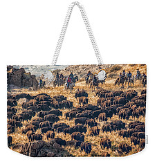 Weekender Tote Bag featuring the photograph Buffalo Roundup by Kristal Kraft