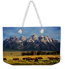 Buffalo Under Tetons Weekender Tote Bag by Leland D Howard