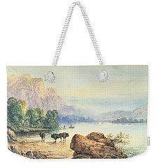 Buffalo Watering Weekender Tote Bag by Thomas Moran