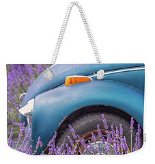 Weekender Tote Bag featuring the photograph Bug In Lavender Field by Patricia Davidson