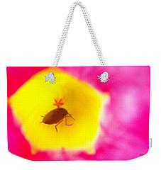 Bug In Pink And Yellow Flower  Weekender Tote Bag by Ben and Raisa Gertsberg