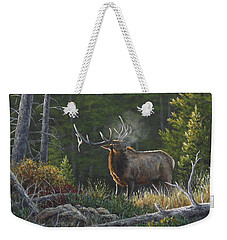 Weekender Tote Bag featuring the painting Bugling Bull by Kim Lockman