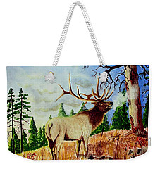 Bugling Elk Weekender Tote Bag by Jimmy Smith