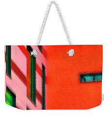 Weekender Tote Bag featuring the digital art Building Block - Red by Wendy Wilton
