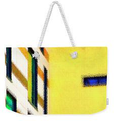 Weekender Tote Bag featuring the digital art Building Block - Yellow by Wendy Wilton