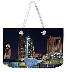 Weekender Tote Bag featuring the photograph Buildings New And Old by Frozen in Time Fine Art Photography