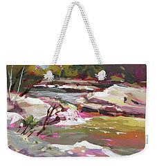 Weekender Tote Bag featuring the painting Bull Creek 1 by Rae Andrews