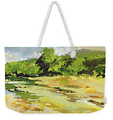 Weekender Tote Bag featuring the painting Bull Creek 3 by Rae Andrews