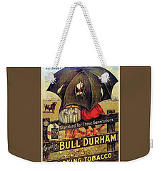 Weekender Tote Bag featuring the digital art Bull Durham Smoking Tobacco by ReInVintaged