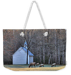 Bull Elk Attending Palmer Chapel  In The Great Smoky Mountains National Park Weekender Tote Bag