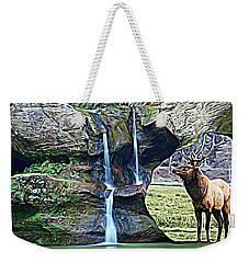 Bull Elk By A Waterfall Weekender Tote Bag